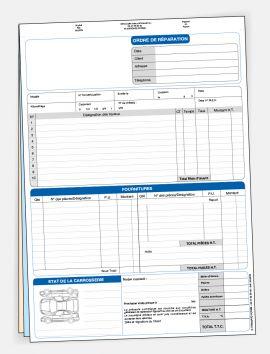 Ordre de réparation 3 exemplaire sans personnalisation