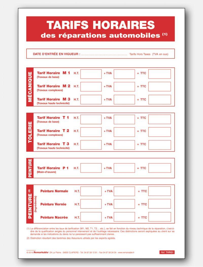 Panneau tarifs horaires des réparations