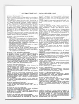 Contrat de prêt de véhicule de remplacement sans personnalisation