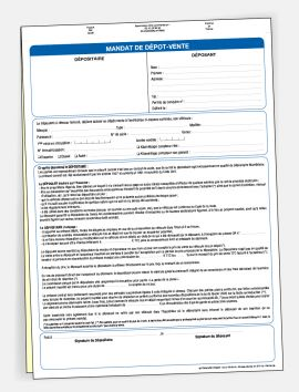Mandat de dépôt-vente sans personnalisation