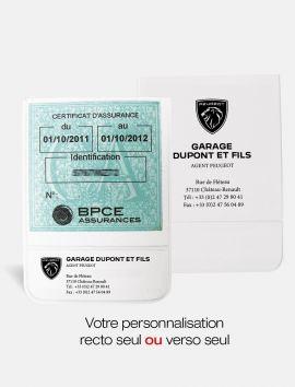 Porte-vignette assurance recto ou verso logo Peugeot
