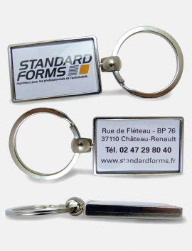 Porte-clés Express rectangle métal recto/verso